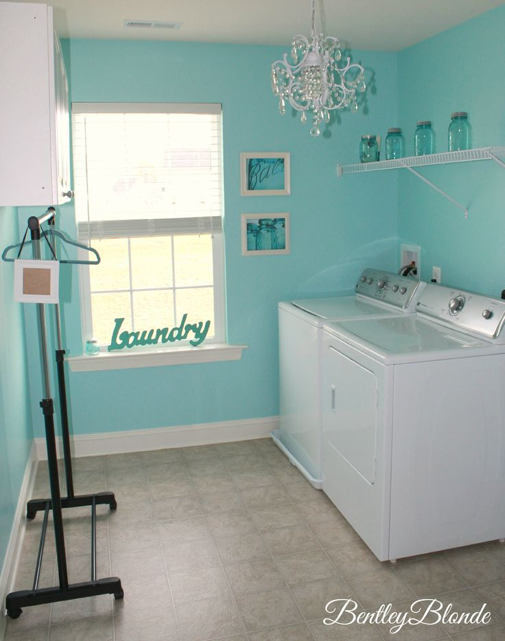 Tiffany Blue Laundry Room | BentleyBlonde House Tour - I like the use of the mason jars.