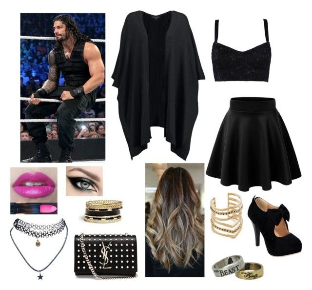 """Special Guest on Raw with Roman Reigns"" by kambrose85 ❤ liked on Polyvore featuring New Look, Dolce&Gabbana, Yves Saint Laurent, GUESS, Wet Seal, Disney and SunaharA"