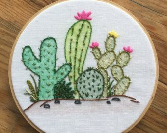 Prickly Pear Hoop Art Cactus Art Cactus by TheWildnessCo on Etsy