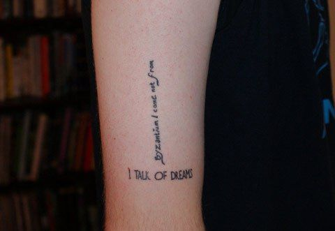 """Such an interesting tattoo... Romeo and Juliet quote (horizontal) and """"Byzantium"""" by Ray Bradbury quote (vertical). - The Best Literary Quotes Ever Tattoed via Flavorwire"""