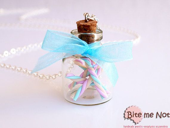 Food Jewelry Marshmallows in a Jar Necklace, Candy Jewelry, Candy Necklace, Marshmallows Necklace, Mini Food, Kawaii Necklace, Fake Food