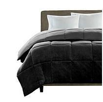 Micro Plush Comforter - Full/Queen - Black and Grey