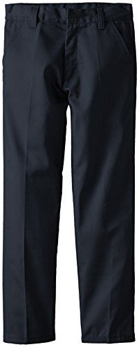 (3606) Genuine School Uniforms Boys Flat Front Twill Pants (Sizes 4-16) in Navy Size: 12
