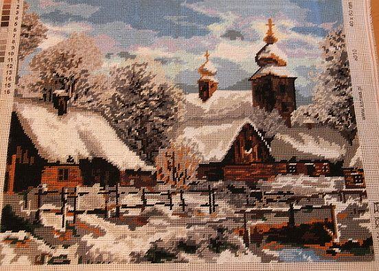 Zima-vyšívané klasickou technikou s bavlnkami