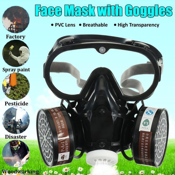 Protective respirator face mask healmet safety glasses
