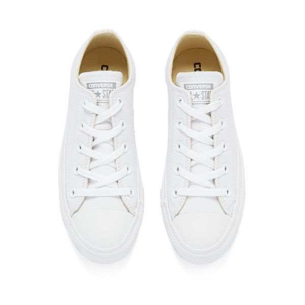 Converse Unisex Chuck Taylor All Star OX Leather Trainers - White... (£55) ❤ liked on Polyvore featuring shoes, sneakers, star shoes, white leather shoes, rubber sole shoes, white low top sneakers and star sneakers