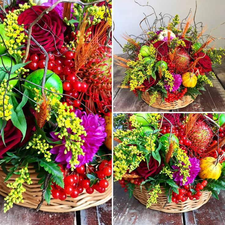 Autumn floral basket with pumpkins, apples, berries and flowers | concept Alexandra Crișan #fall #autumn #flowers #pumpkin #berries #apples