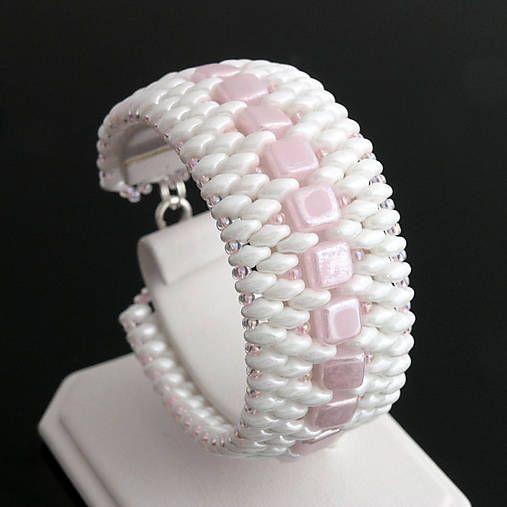 Beaded bracelet - czech tile and superduo beads http://www.sashe.sk/kacenkag/detail/baby-pink