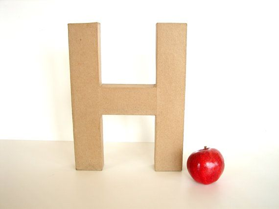 Paper Mache Letter H 12 tall  Ready to Decorate by ThirdShift, $7.00