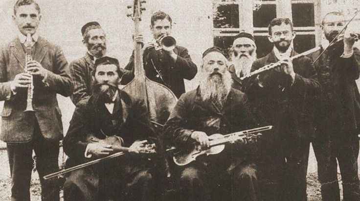Jewish musicians, most of them members of the Faust family Austro-Hungarian Empire, Galicia, Rohatyn, 1912