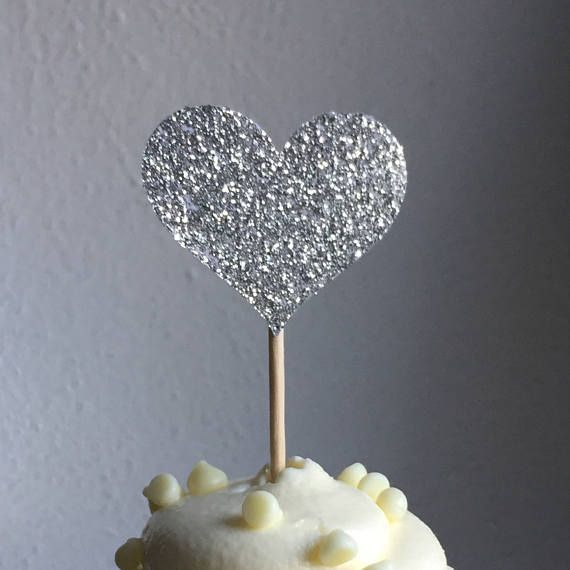120 Cupcake Toppers Sparkling SILVER HEARTS Wedding Cake