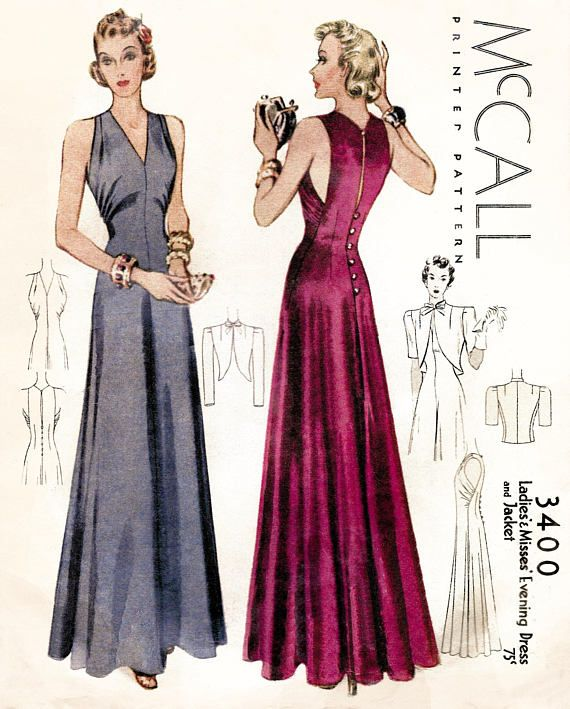f0afe49fde9 1930s 30s vintage evening gown sewing pattern    cocktail dress and ...