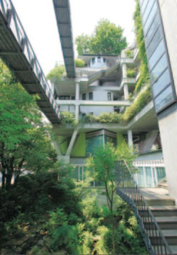 Green garden facade with corridor