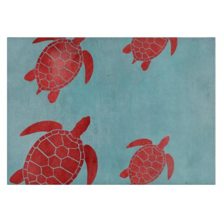 Red and Blue Green Sea Turtle Cutting Board