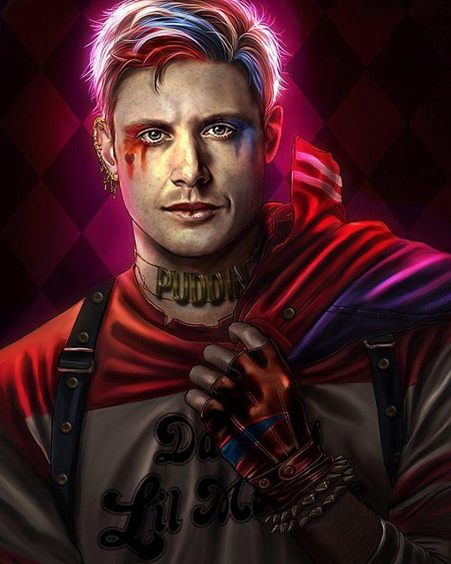 Jensen as a male Harley Quinn. Drawn for this month's Supernatural Art Challenge. Photoshop CS6. #supernatural #spn #jensenackles #deanwinchester #harleyquinn #margotrobbie #suicidesquad #photoshop #artistoninstagram #art #illustration