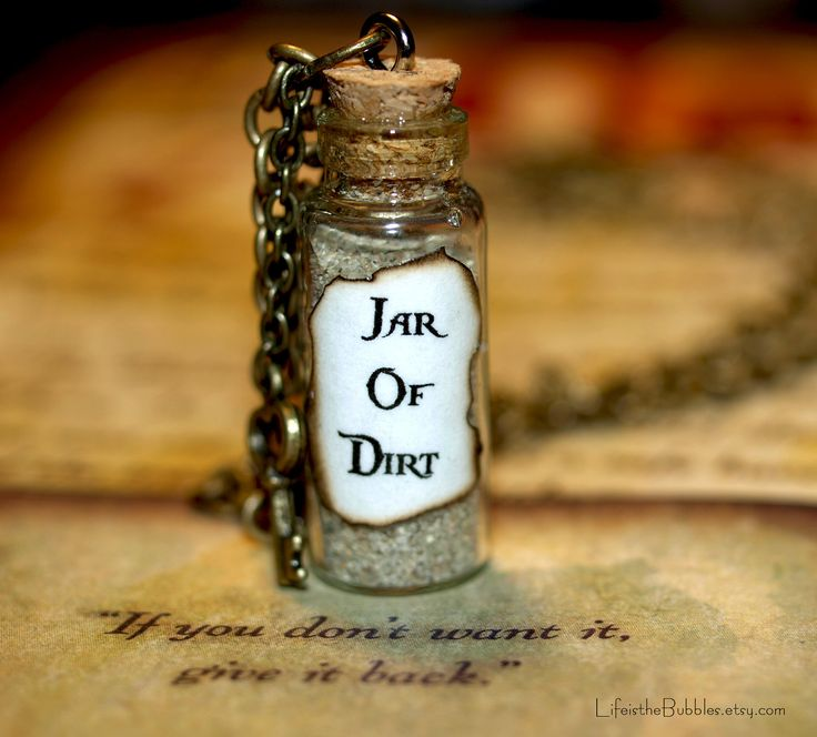 Necklace  Jar of Dirt and Key Disney Pirates of the Caribbean Jack Sparrow Tia Dalma. $15.00, via Etsy.