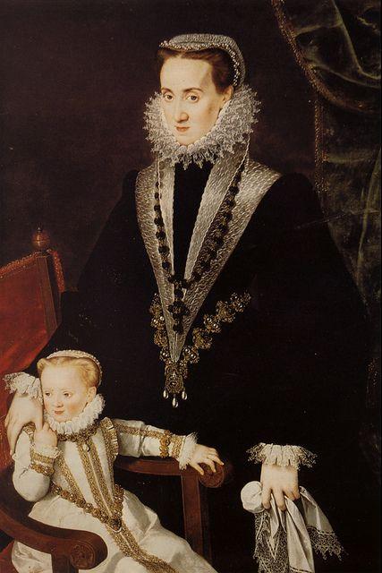Sofonisba Anguissola (attributed), Dona Maria Manrique de Lara y Pernstein and one of her daughters.c.1574.[Prague]:
