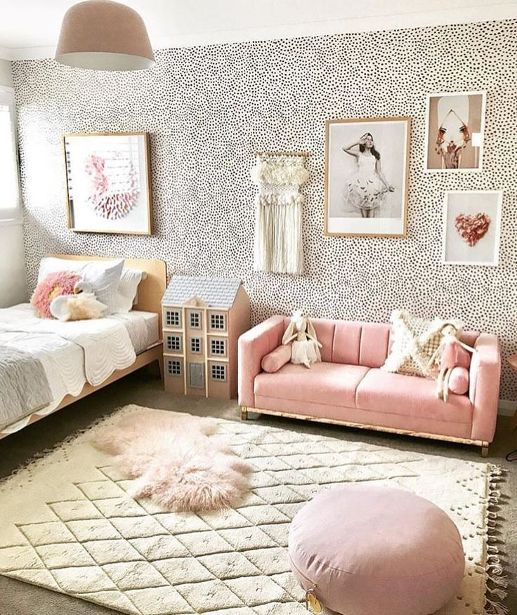 Girl Room Decor With Wallpaper And Pink Sofa Girl Bedroom Decor Girl Playroom Decor Teena Girl Bedroom Decor Girls Room Decor Big Girl Bedrooms