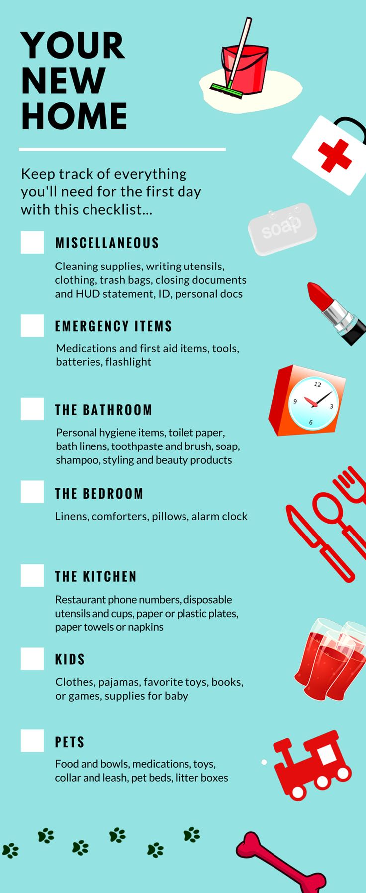 Great tool for agents to share with buyers - First Night in Your New Home Infographic
