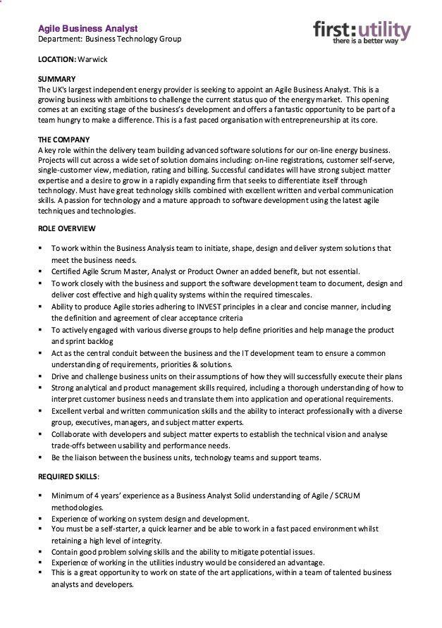 Agile Business Analyst Resume Skills Resumesdesign Com