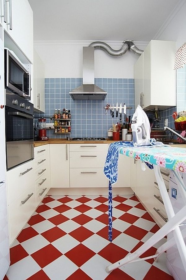Red And White Kitchen Floor Tiles