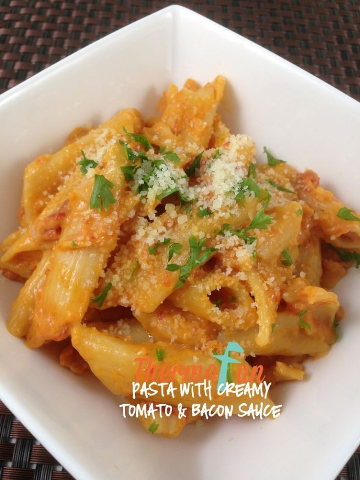 ThermoFun - MAD MONDAY - Pasta with Creamy, Tomato and Bacon Sauce Recipe | ThermoFun | Thermomix Recipes & Tips