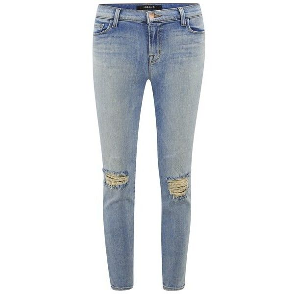 J Brand Women's Mid Rise Distressed Crop Skinny Jeans - Dropout Indigo (375 BAM) ❤ liked on Polyvore featuring jeans, pants, bottoms, trousers, blue, blue jeans, denim skinny jeans, j-brand skinny jeans, ripped jeans and distressed skinny jeans