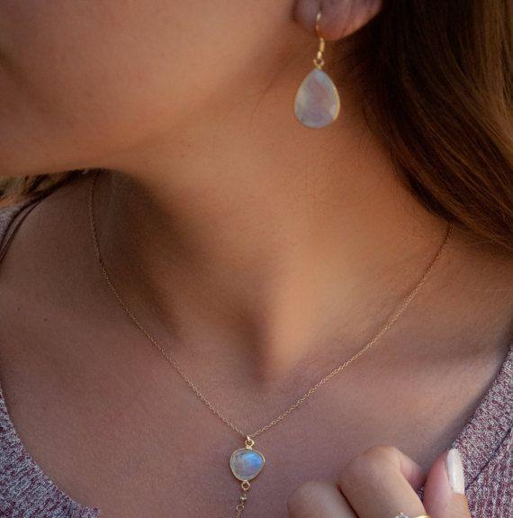 Moonstone Earrings * goud Vermeil oorbellen * witte oorbellen * bengelen oorbellen * bruid oorbellen * Boho oorbellen * Boheemse * Boho BJE059