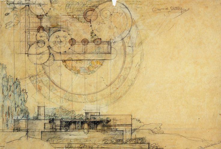 Frank Lloyd Wright, Croquis Casa Jester, Palos Verdes, California