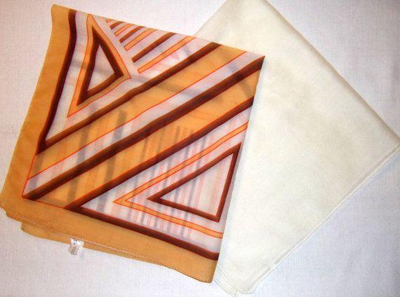 Vintage scarves 1970 cca  geometric creamy white by CHEZELVIRE, $12.00