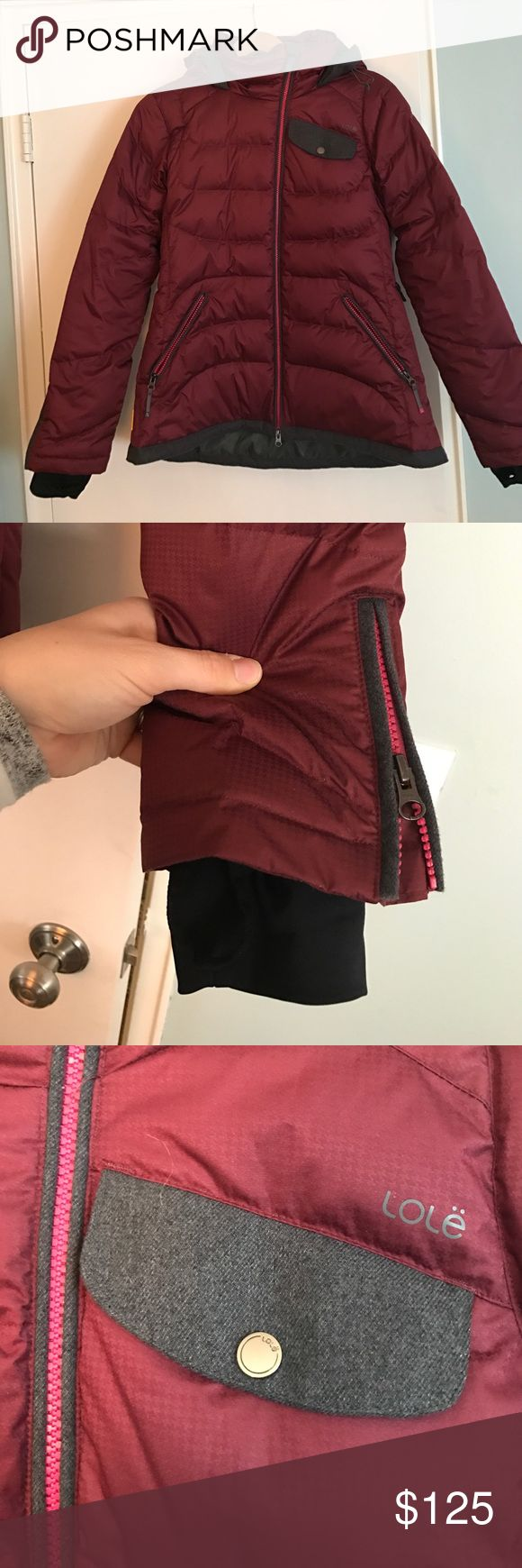 NWOT Lole Winter Jacket, Burgundy, Large Adorable Lole jacket!  This jacket has all the bells and whistles - thumbholes, slight zip at wrist, attached hood with adjustable drawstring, 2 front pockets, powder skirt, 2 internal pockets.  Jacket is waterproof.  Outer shell is 100% polyester with 60% duck down and 40% feathers.  It's warm! Lole Jackets & Coats Puffers