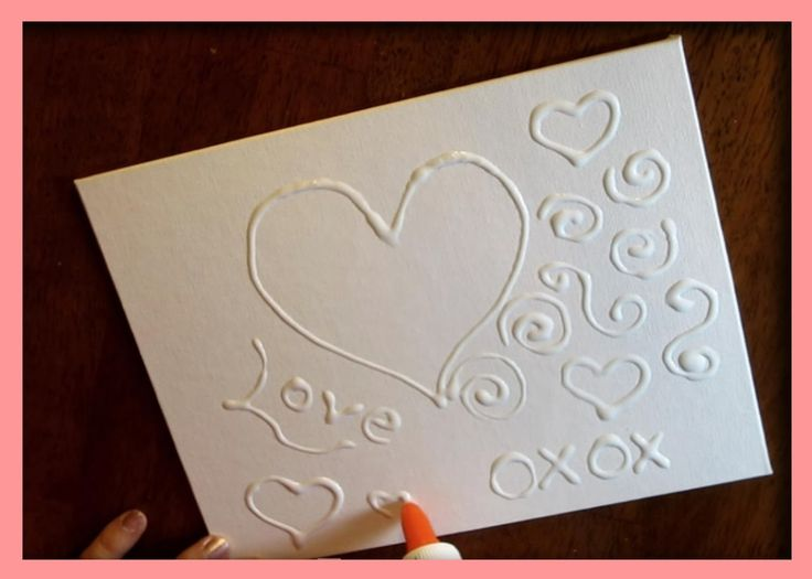 DIY Texture Painting With Glue - An Easy Craft For Kids. An Easy Valentine's Day Project. Step-by-step instructions.