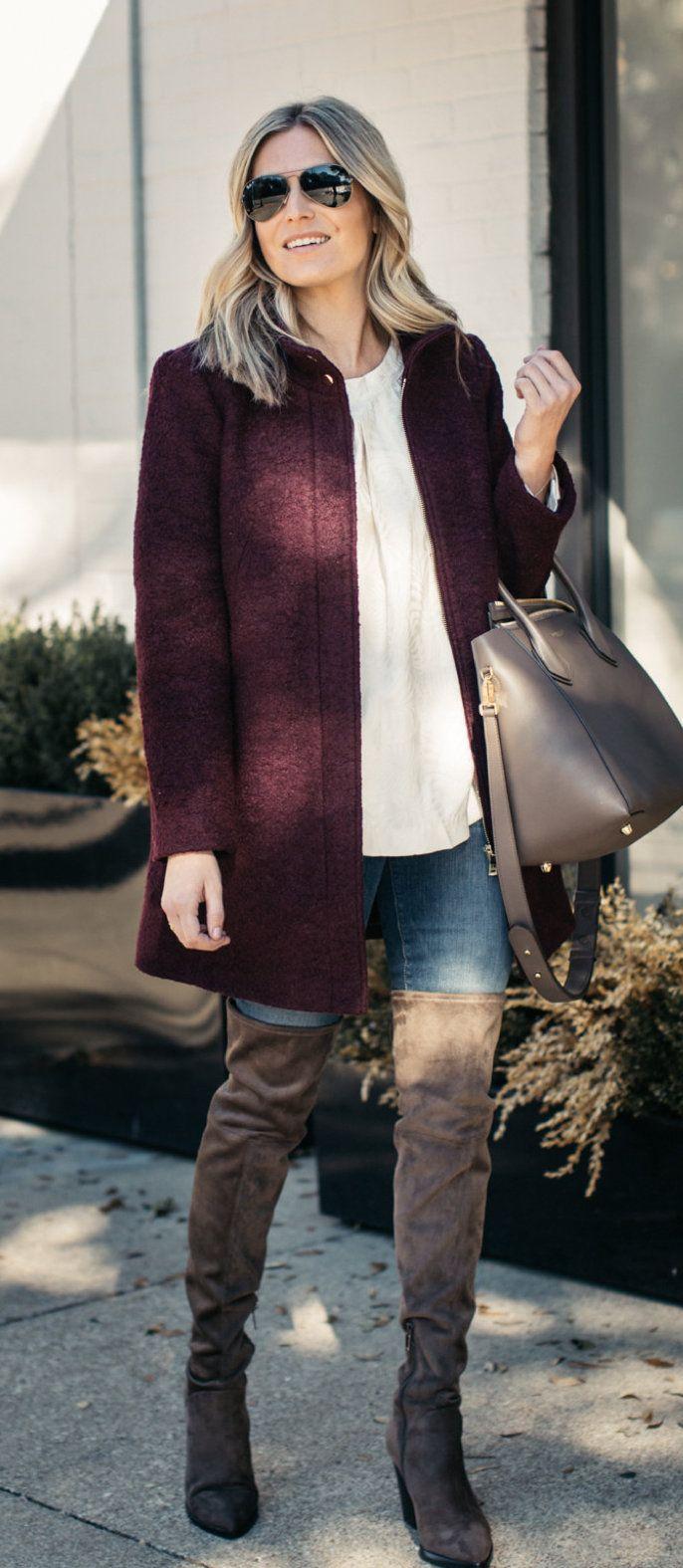 Maroon Jacket Como Vestir Con Botas Ropa De Moda Y Moda