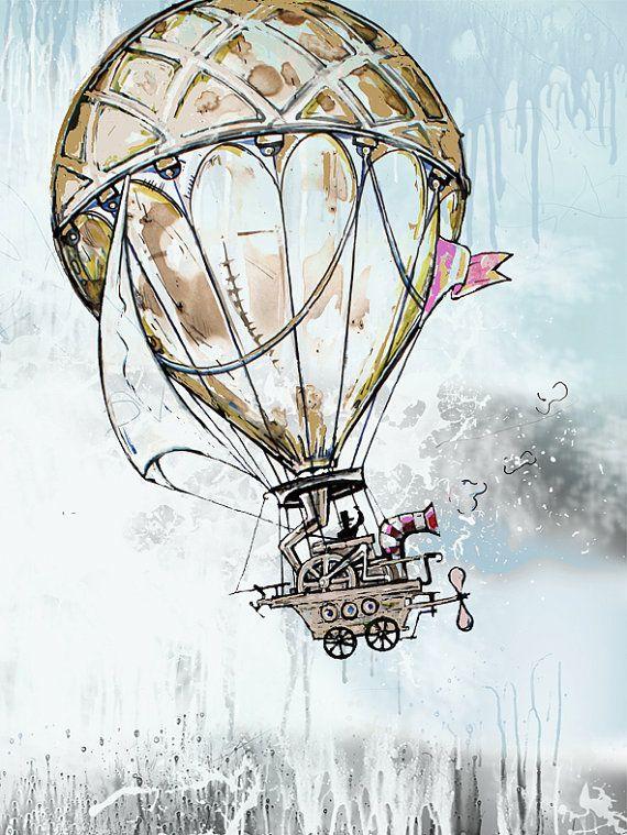 Watercolor vintage illustration print painting giclee di ZarStudio, $25.00