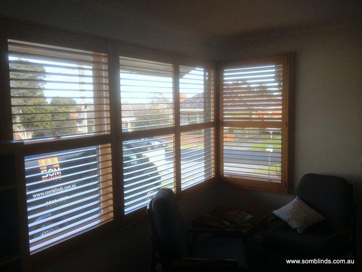Corner window Plantations Shutters by SOM Blinds. www.somblinds.com.au