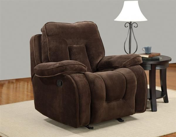 Champion Chocolate Wood Leather Rocker Reclining Chair
