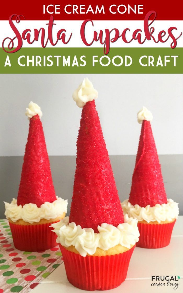 Ice Cream Cone Santa Hat Cupcakes on Frugal Coupon Living  This is a fun Kids Fo...