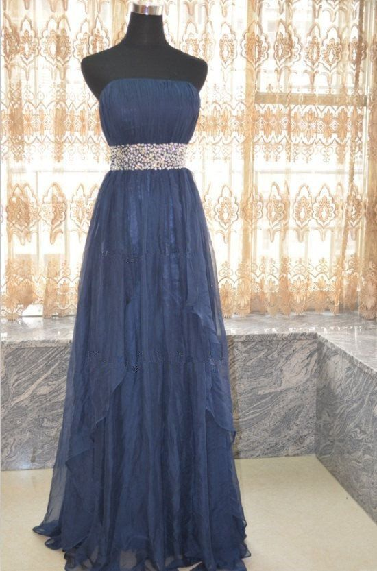 Image of Charming Handmade Blue Long Prom Dresses with Beadings, Blue Prom Dresses, Evening Dresses