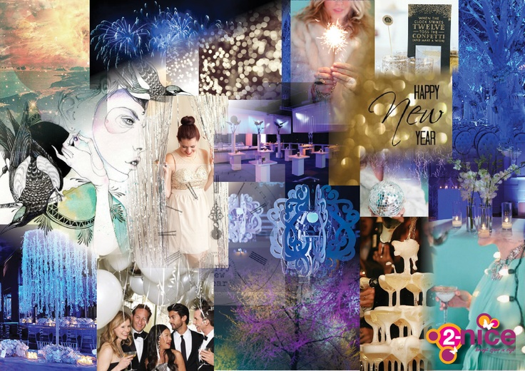 www.2-nice.nl, Event Styling & Decoration, Oud & Nieuw, Party, New Year, Happy, Chique, Elegant, Blauw, Goud, Glitter, Kroonluchter, Illustratie