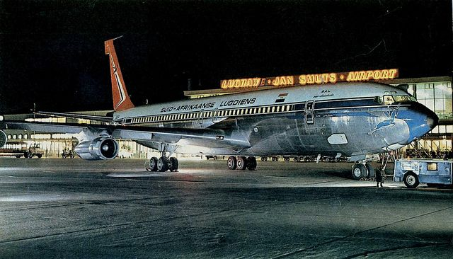 """South African Airways Boeing 707-344C ZS-SAI """"East London"""" at Jan Smuts Airport, Johannesburg, circa 1965."""