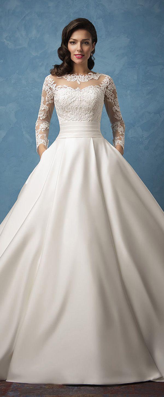 Marvelous Tulle & Satin Bateau Neckline A-Line Wedding Dresses With Lace Appliques