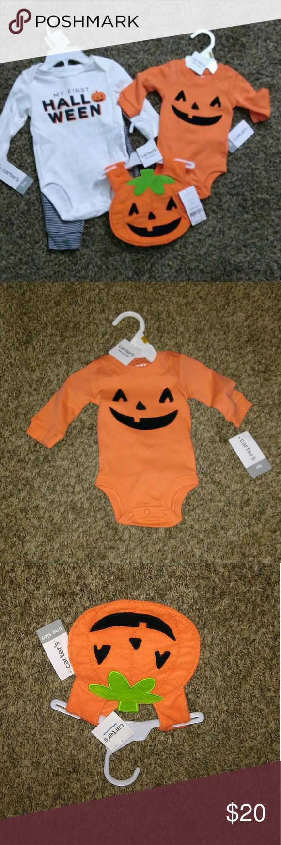 """Infants """"Carters"""" Halloween Set NWT Bib, Outfit, and long sleeve Onesie. The orange onesie is Newborn 6-9 lbs and the other outfit fits up to 3 months 9-12.5 lbs. I purchased Halloween, Thanksgiving, and Christmas sets (also for sale) as gifts but unfortunately no longer need them. Carter's Matching Sets"""
