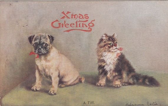 PRECIOUS!!! Signed Adrienne Lester Pug Dog And Cat by Museumofantiquepaper