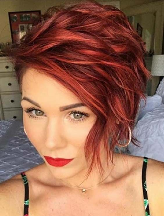 trendy short red haircuts &