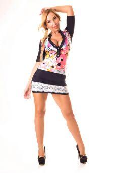 Színes virágos SYL miniruha csipke mintás szoknyával