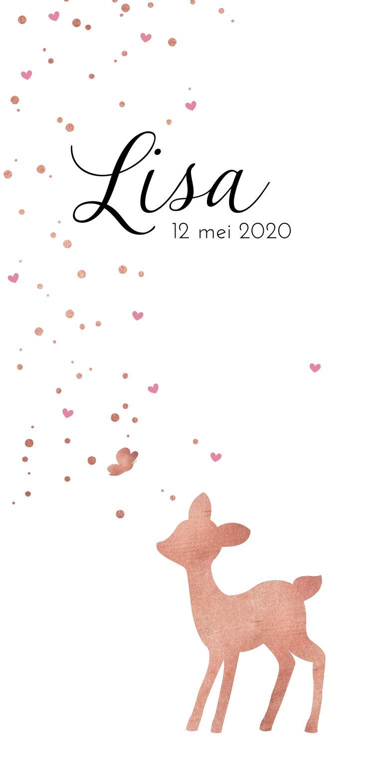 Lief geboortekaartje voor een meisje met rose gouden hartjes, stippen en een hertje.