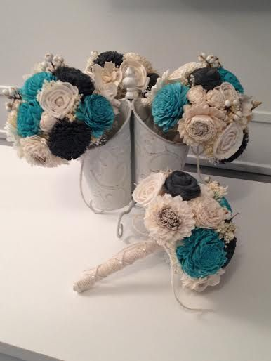 Small Wedding Bouquet made with sola flowers  choose by syl2830  might have to get this for my carnival cruise wedding for my bridesmaid?