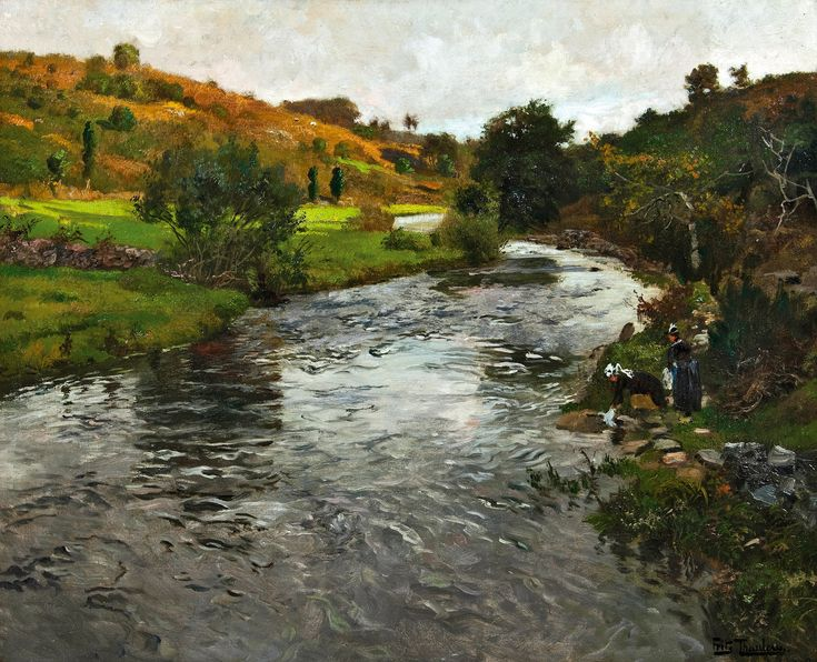 Washerwomen on the river Elle, Quimperlé Fritz Thaulow - Date unknown