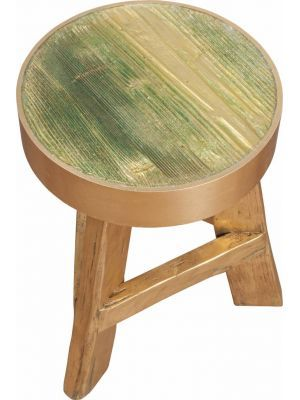 Zuiver+Kruk+teak+hout+met+gouden+rand+Ø32x45cm,+Stool+gold+rush #gold #stool #interior #decoration #wood #myhomeshopping