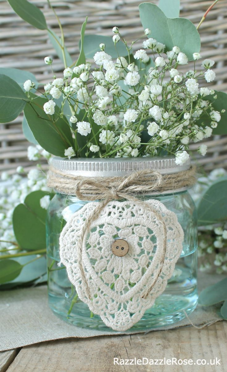 Crochet Heart looks gorgeous tied onto a jar with brown twine, perfect for a DIY wedding table centrepiece.